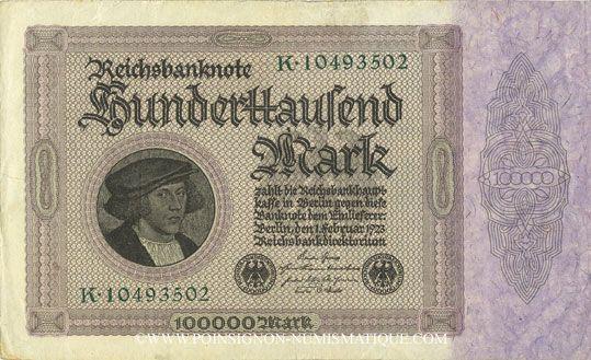 Billets Allemagne. Billet. 100 000 mark 1.2.1923. Série K