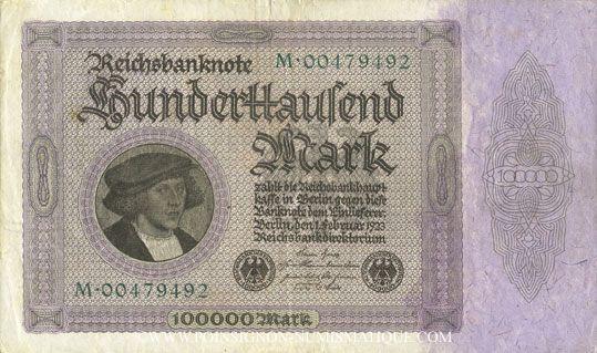 Billets Allemagne. Billet. 100 000 mark 1.2.1923. Série M
