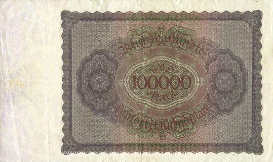 Billets Allemagne. Billet. 100 000 mark 1.2.1923. Série P