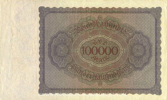 Billets Allemagne. Billet. 100 000 mark 1.2.1923. Série Q