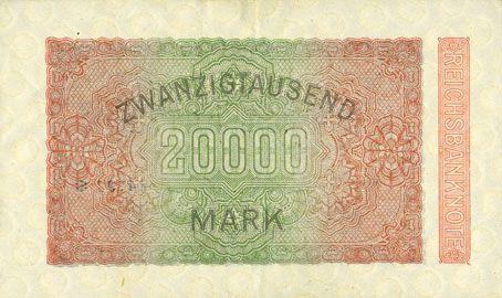 Billets Allemagne. Billet. 20 000 mark 20.2.1923. Série MV