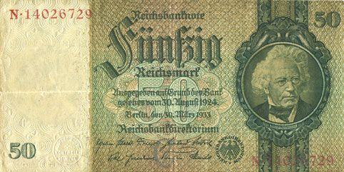 Billets Allemagne. Billet. 50 reichsmark 30.3.1933, série C/N