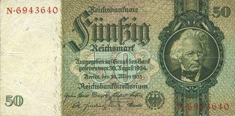 Billets Allemagne. Billet. 50 reichsmark 30.3.1933, série M/N