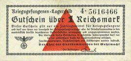 Billets Allemagne. Camps allemands de prisonniers de guerre 1939-1945. Billet. 1 mark