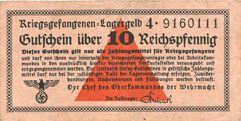 Billets Allemagne. Camps allemands de prisonniers de guerre 1939-45. Billet. 10 pfennig