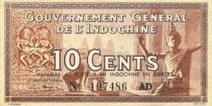 Billets Indochine. Billet. 10 cents (1939), Gouvernement général