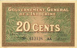 Billets Indochine. Billet. 20 cents (1939). Gouvernement général
