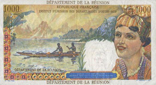 billets anciennes colonies francaises la r union billet 20 nouveaux francs 1000 francs 1973. Black Bedroom Furniture Sets. Home Design Ideas