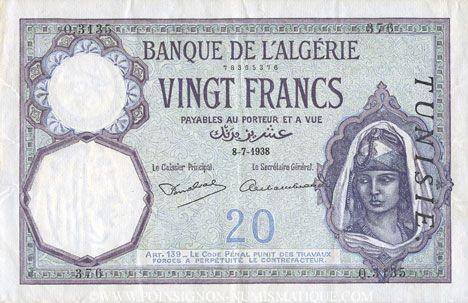 Billets Tunisie. Billet. 20 francs, type 1912, du 8.7.1938