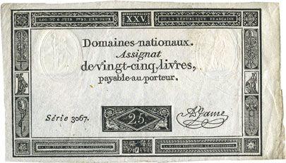 Billets Assignat. 25 livres. 6 juin 1793. Signature : A. Jame