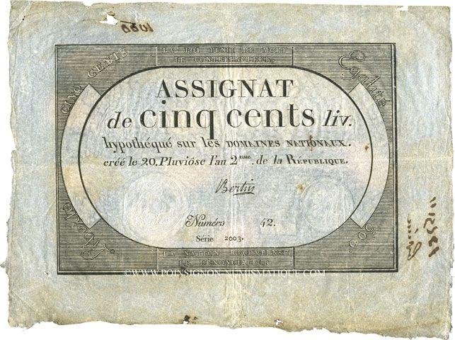 Billets Assignat. 500 livres. 20 pluviôse an 2. Signature : Bertin
