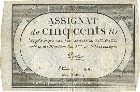 Billets Assignat. 500 livres. 20 pluviôse an 2. Signature : Duboc