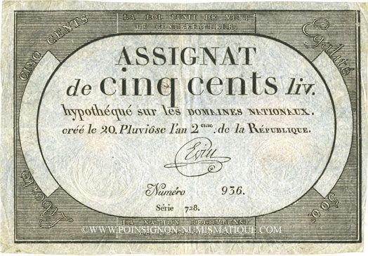 Billets Assignat. 500 livres. 20 pluviôse an 2. Signature : Evin