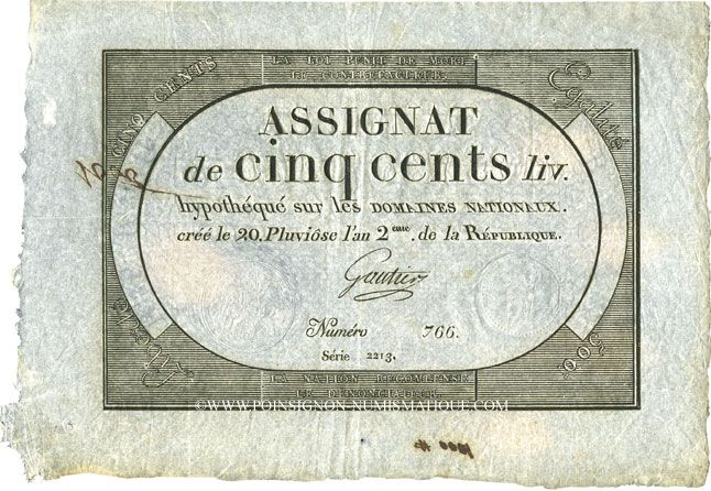 Billets Assignat. 500 livres. 20 pluviôse an 2. Signature : Gautier
