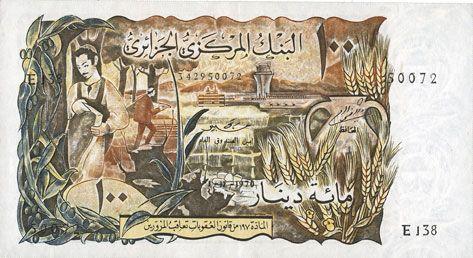 Billets Algérie. Banque Centrale. Billet. 100 dinars 1.11.1970