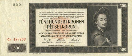 Billets Bohème et Moravie. Banque Nationale. Billet. 500 couronnes 24.2.1942. 2e émission