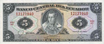 Billets Equateur. Banque Centrale. Billet. 5 sucres 20.4.1983