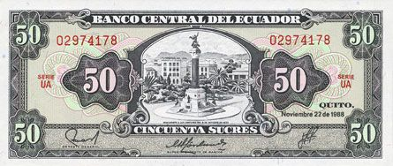 Billets Equateur. Banque Centrale. Billet. 50 sucres 22.11.1988
