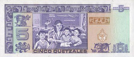 Billets Guatemala. Billet. 5 quetzales 31.1.1990