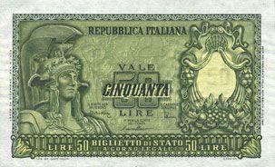 Billets Italie. Billet. 50 lires 31.12.1951