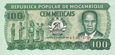 Billets Mozambique. République Populaire. Billet. 100 meticais 16.6.1980