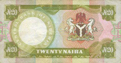Billets Nigéria. Banque Centrale. Billet. 20 naira (1977)