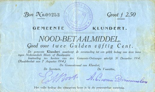 Billets Pays Bas. Commune (Gemeente) Klundert. 2 1/2 gulden. 7.8.1914