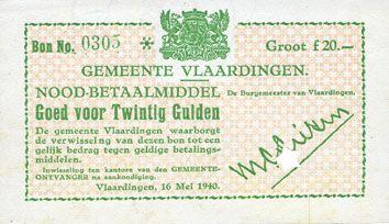 Billets Pays Bas. Commune (Gemeente) Vlaardingen. Billet. 20 gulden 16.5.1940