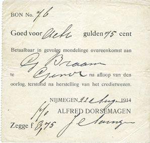 Billets Pays Bas. Nimègue (Nijmegen). Alfred Dorsemagen. 8 gulden 75 cent 22.8.1914