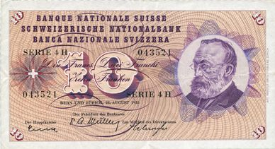 Billets Suisse. Billet. 10 francs 25.8.1955