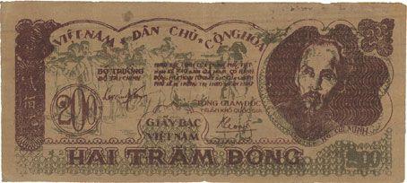 Billets Vietnam. Banque vietnamienne - Viêt-Nam Dàn Chu Cong Hoa. Billet. 200 dong (1950)