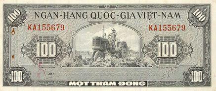 Billets Vietnam du Sud. Banque Nationale du Vietnam. Billet. 100 dong (1955)