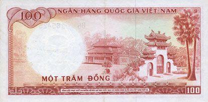 Billets Vietnam du Sud. Banque Nationale du Vietnam. Billet. 100 dong (1966)