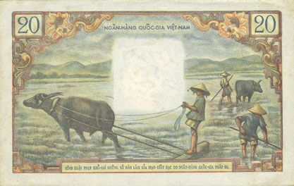 Billets Vietnam du Sud. Banque Nationale du Vietnam. Billet. 20 dong (1956)