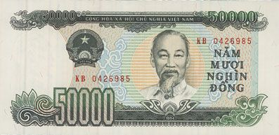 Billets Vietnam. République socialiste du Vietnam. Billet. 50 000 dong 1994
