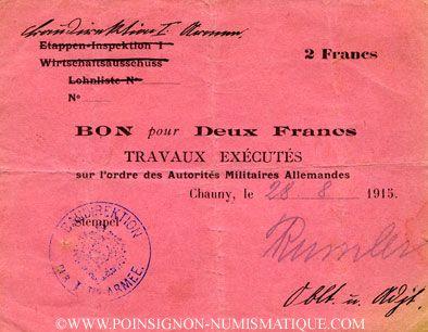Billets France. Bon pour 2 francs, pour les territoires occupés allemands, 1914-15 - Baudirektion. Inédit !
