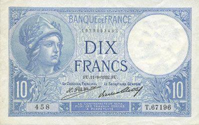 Billets Banque de France. Billet. 10 francs Minerve, 11.8.1932