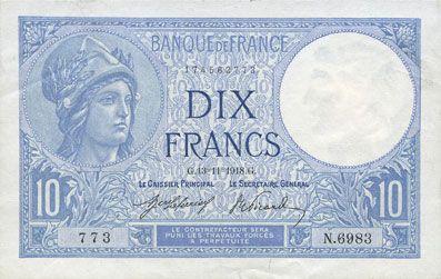 Billets Banque de France. Billet. 10 francs Minerve, 13.11.1918