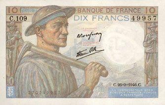 Billets Banque de France. Billet. 10 francs mineur, 26.9.1946