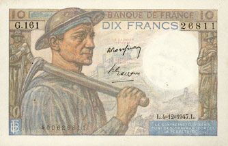 Billets Banque de France. Billet. 10 francs mineur, 4.12.1947