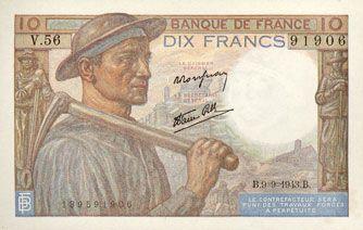Billets Banque de France. Billet. 10 francs mineur, 9.9.1943