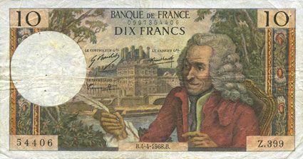 billet de banque en francs