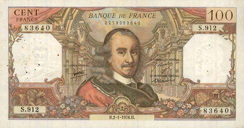 Billets Banque de France. Billet. 100 francs, Corneille, 2.1.1976