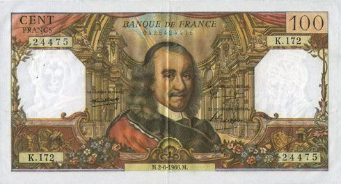 Billets Banque de France. Billet. 100 francs, Corneille, 2.6.1966