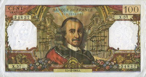 Billets Banque de France. Billet. 100 francs, Corneille, 3.12.1964