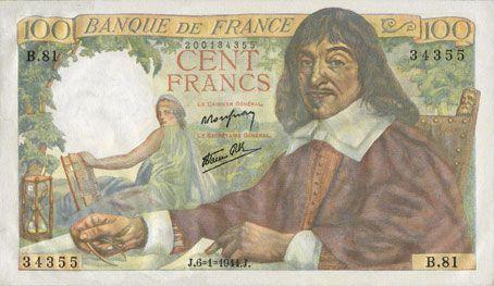 Billets Banque de France. Billet. 100 francs Descartes, 6.1.1944