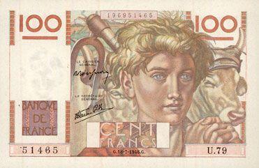 Billets Banque de France. Billet. 100 francs jeune paysan, 18.7.1946