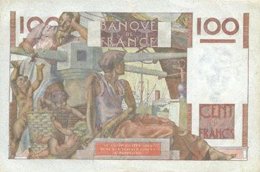 Billets Banque de France. Billet. 100 francs jeune paysan, 3.4.1952