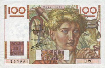 Billets Banque de France. Billet. 100 francs jeune paysan, 7.11.1945