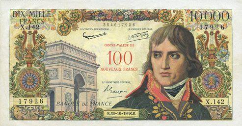 Billets Banque de France. Billet. 100 NF / 10 000 francs, Bonaparte, 30.10.1958. Surchargé